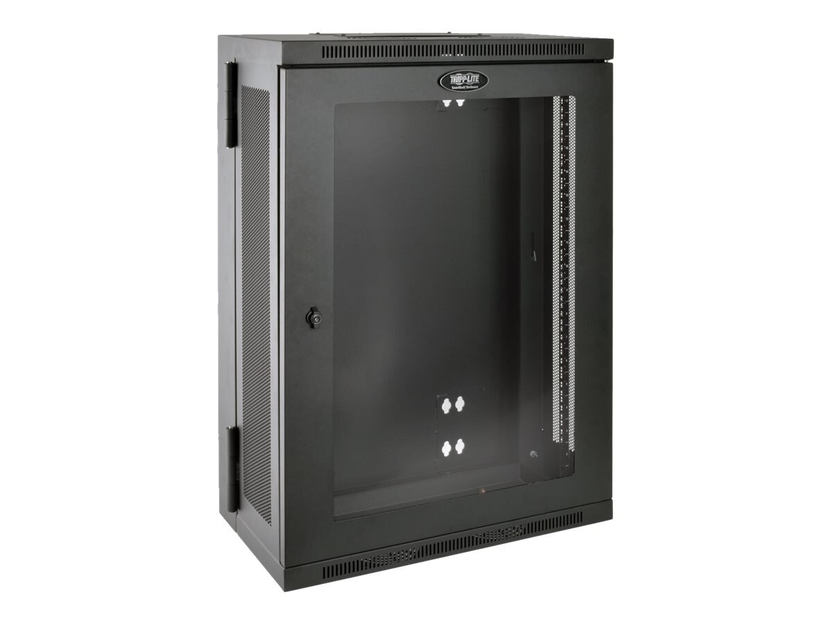 Tripp Lite SmartRack 18U Low-Profile Wall-Mount Rack Enclosure w  Clear Acrylic Window, Hinged Back