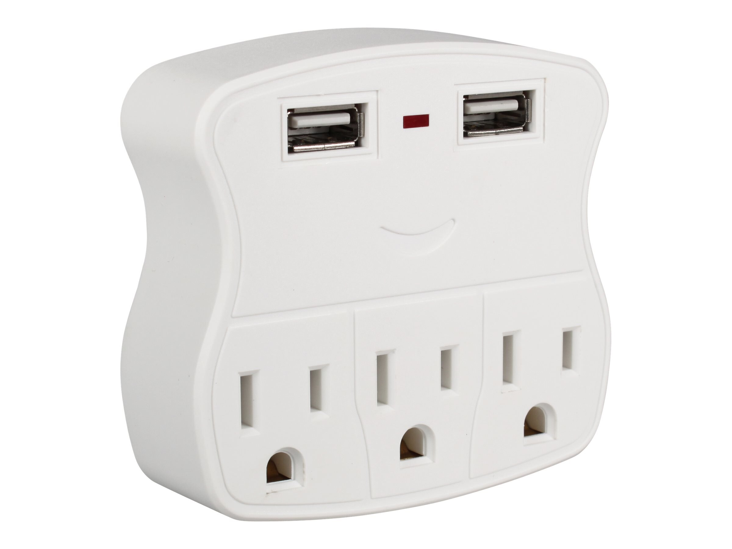 QVS 5-Outlet Wallmount Power Strip w  Dual USB 2.1A Charging Ports, PS-05UW, 31202107, Power Strips