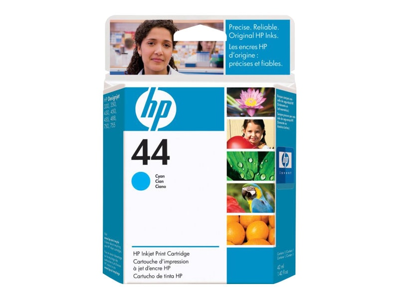 HP 44 Cyan Ink Cartridge for HP Designjet 350, 450, 455, 488, 750 & 755 Series Printers, 51644C, 37192, Ink Cartridges & Ink Refill Kits