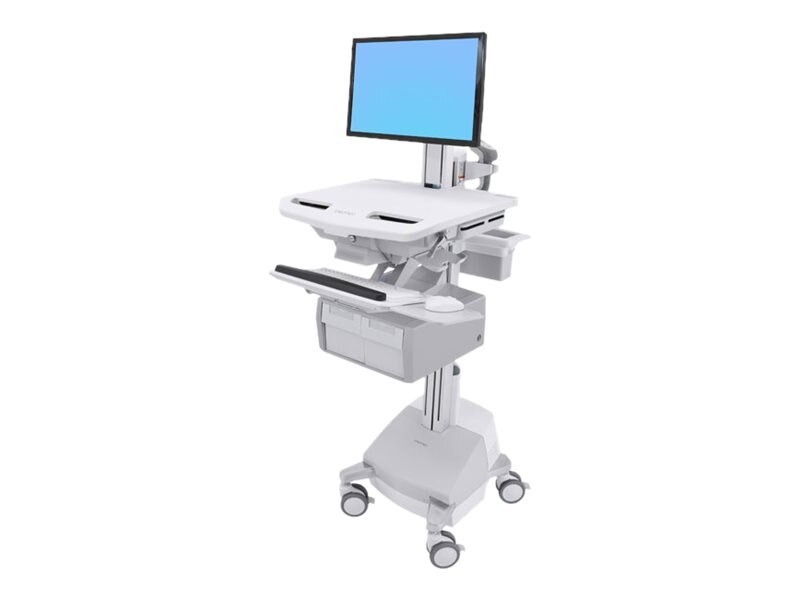 Ergotron StyleView Cart with LCD Pivot, SLA Powered, 2 Tall Drawers, SV44-13C1-1, 31498091, Computer Carts - Medical