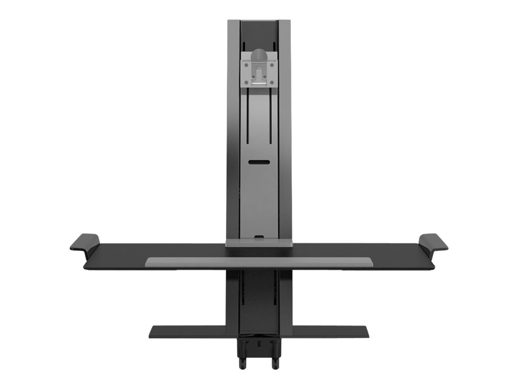 Humanscale QuickStand with Single Light Display Support, Small Platform, Clamp Mount, Black, QSBL24CNN