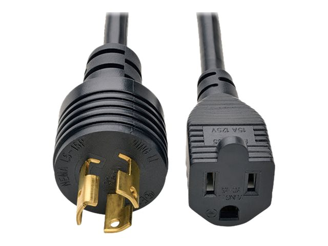Tripp Lite Heavy-Duty Power Adapter Cord, 15A, 14AWG, NEMA 5-15R to L5-15P, 1ft, P025-001, 18817115, Power Cords