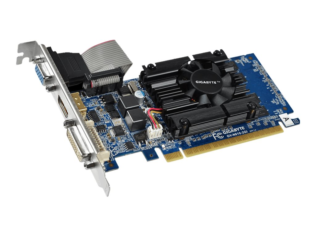 Gigabyte Tech GeForce GT 610 PCIe Graphics Card, 2GB DDR3, GV-N610-2GI, 30955191, Graphics/Video Accelerators