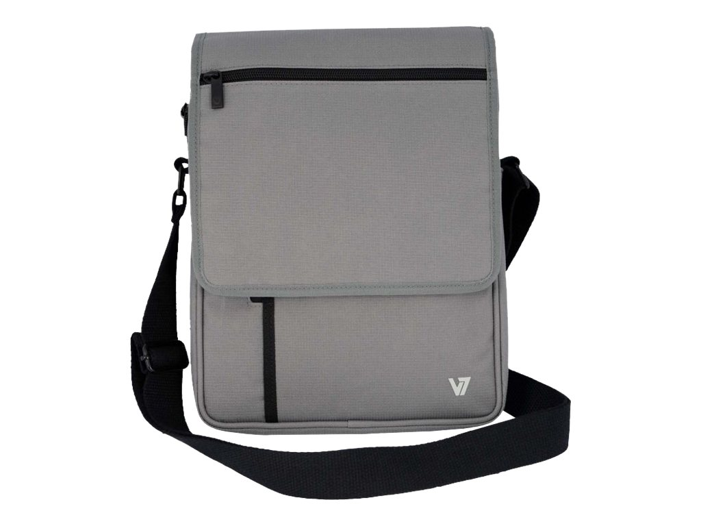 V7 Premium Messenger Bag for Tablet 10.1 iPad 1 2 3 4 iPad Air, Gray, TD21GRY-1N, 16573778, Carrying Cases - Tablets & eReaders