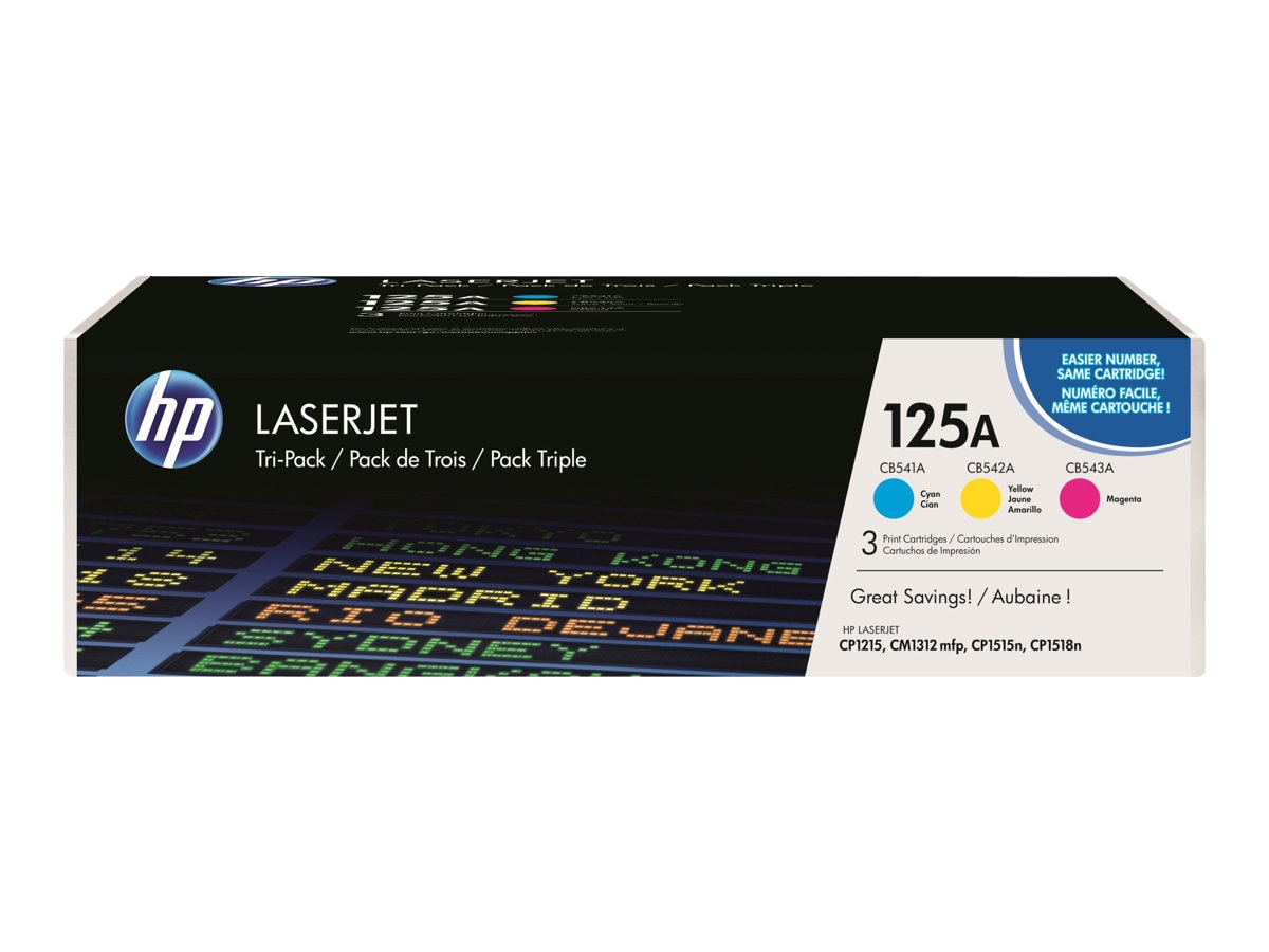 HP 125A (CE259A) 3-pack Cyan Yellow Magenta Original LaserJet Toner Cartridges