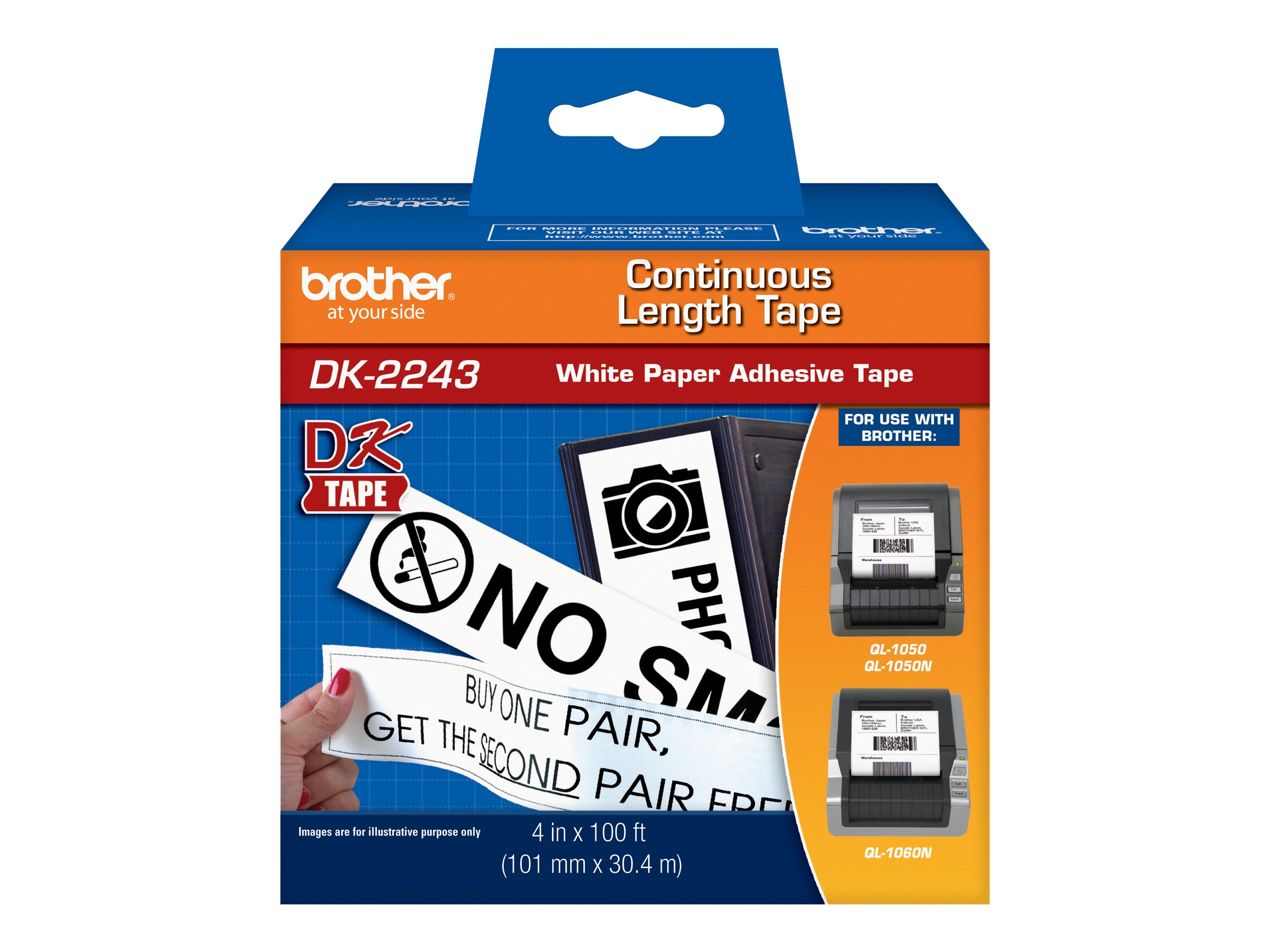 Brother 4 x 100' DK2243 Black White Continuous Length Paper Tape