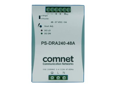 Comnet 48VDC 240W 5A DIN High Temp -40 to +71 Degrees C for PoE Power Supply