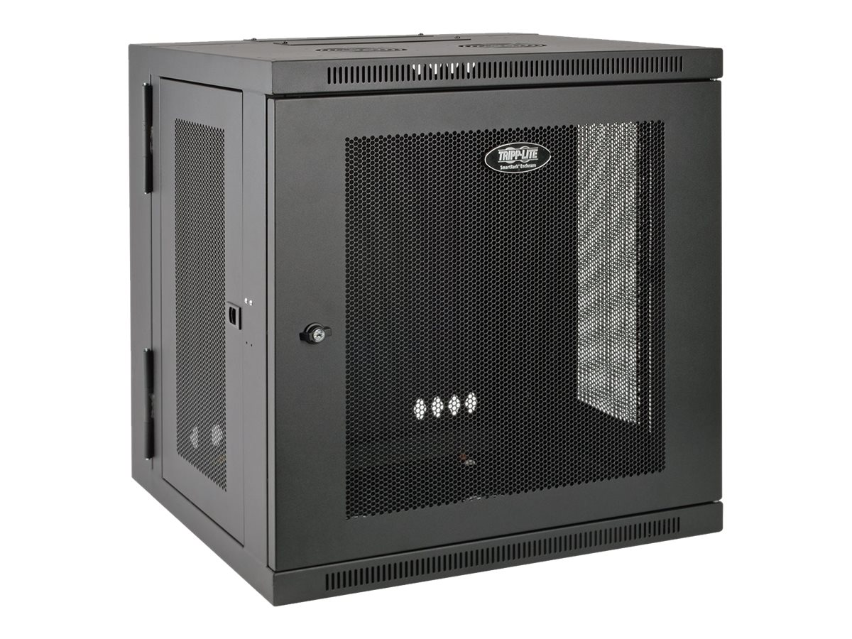 Tripp Lite SmartRack 12U UPS-Depth Wall-Mount Rack Enclosure Cabinet, Hinged Back, Black