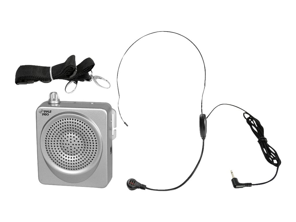 Pyle 50 Watt Portable, Waist-Band Portable PA System with Headset Microphone - Silver