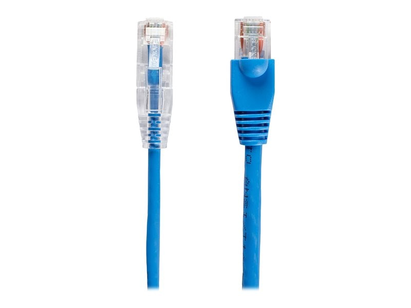 Black Box Slim-Net CAT6A 28AWG 500MHz UTP Patch Cable, Blue, 1ft
