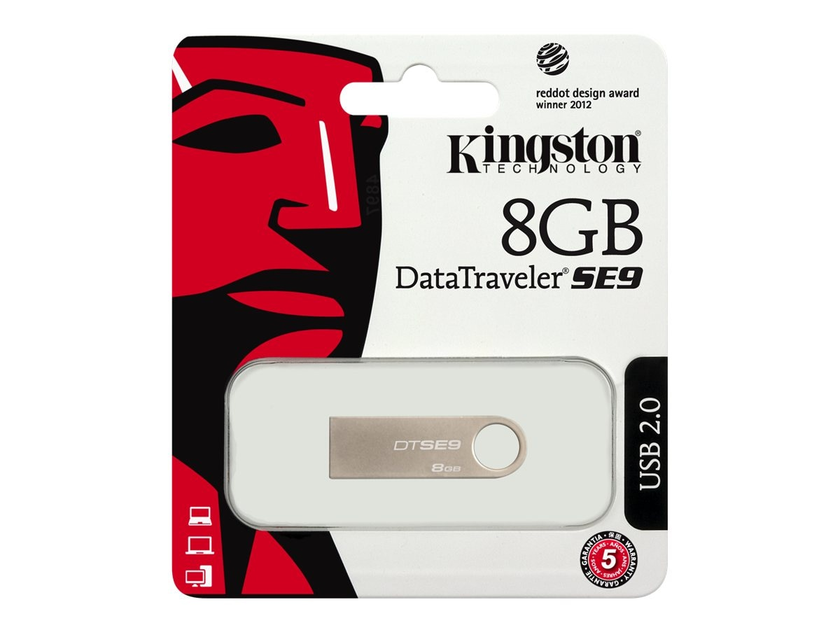 Kingston 8GB DataTraveler SE9 USB 2.0 Flash Drive, DTSE9H/8GBZ, 13665773, Flash Drives
