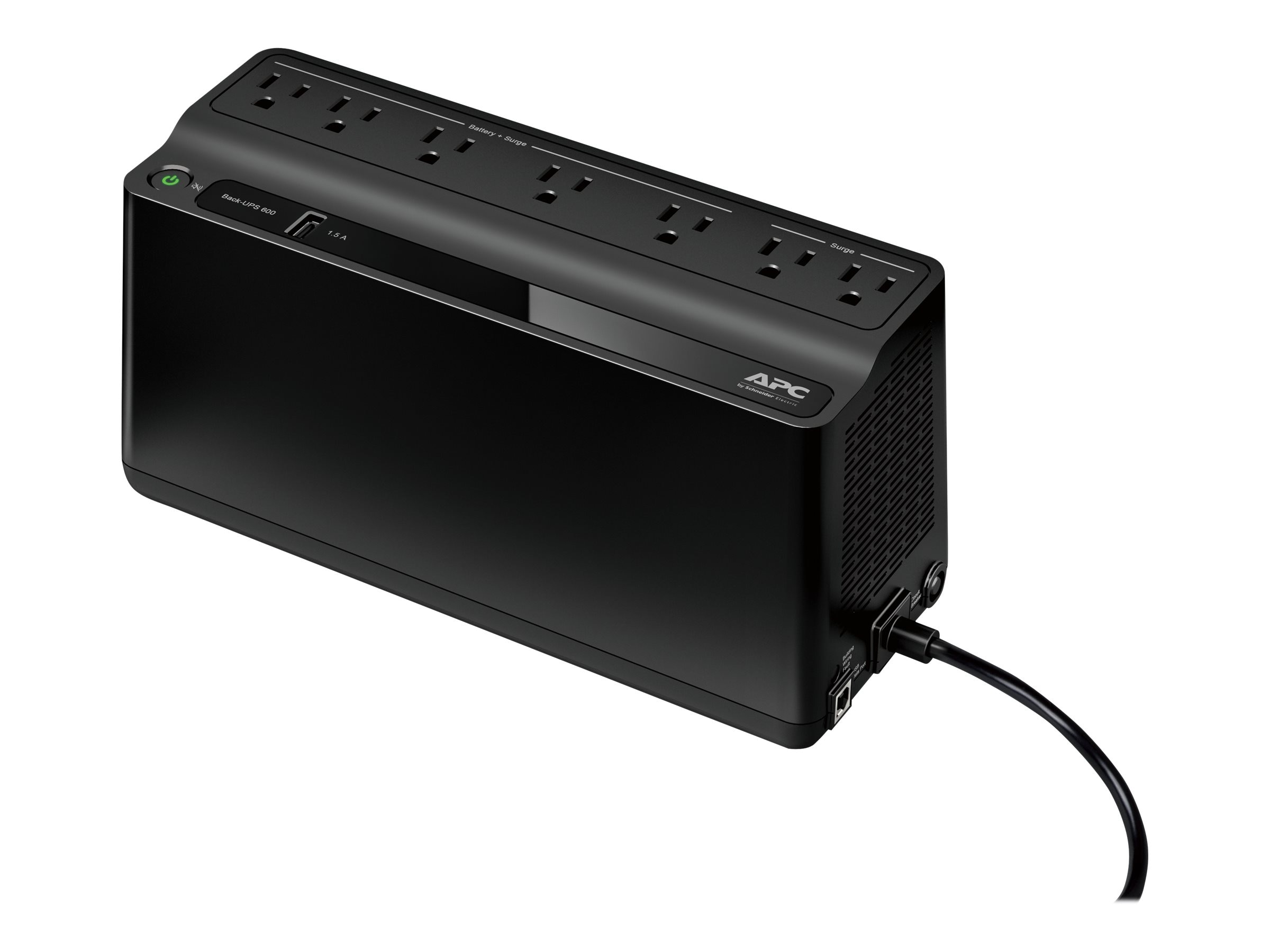 APC Back-UPS 600VA 330W 120V, 5-15P Right-angle Input Plug, (7) 5-15R Outlets, Instant Rebate - Save $3, BE600M1