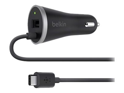 Belkin USB-C Car Charger w  Hardwired USB-C Cable, USB-A Port, F7U006BT04-BLK