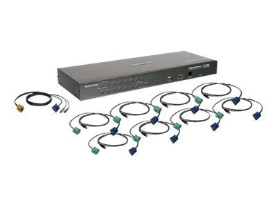 IOGEAR 16-Port USB PS 2 Combo KVM Switch w  (8) Cables, GCS16KIT, 9406031, KVM Switches