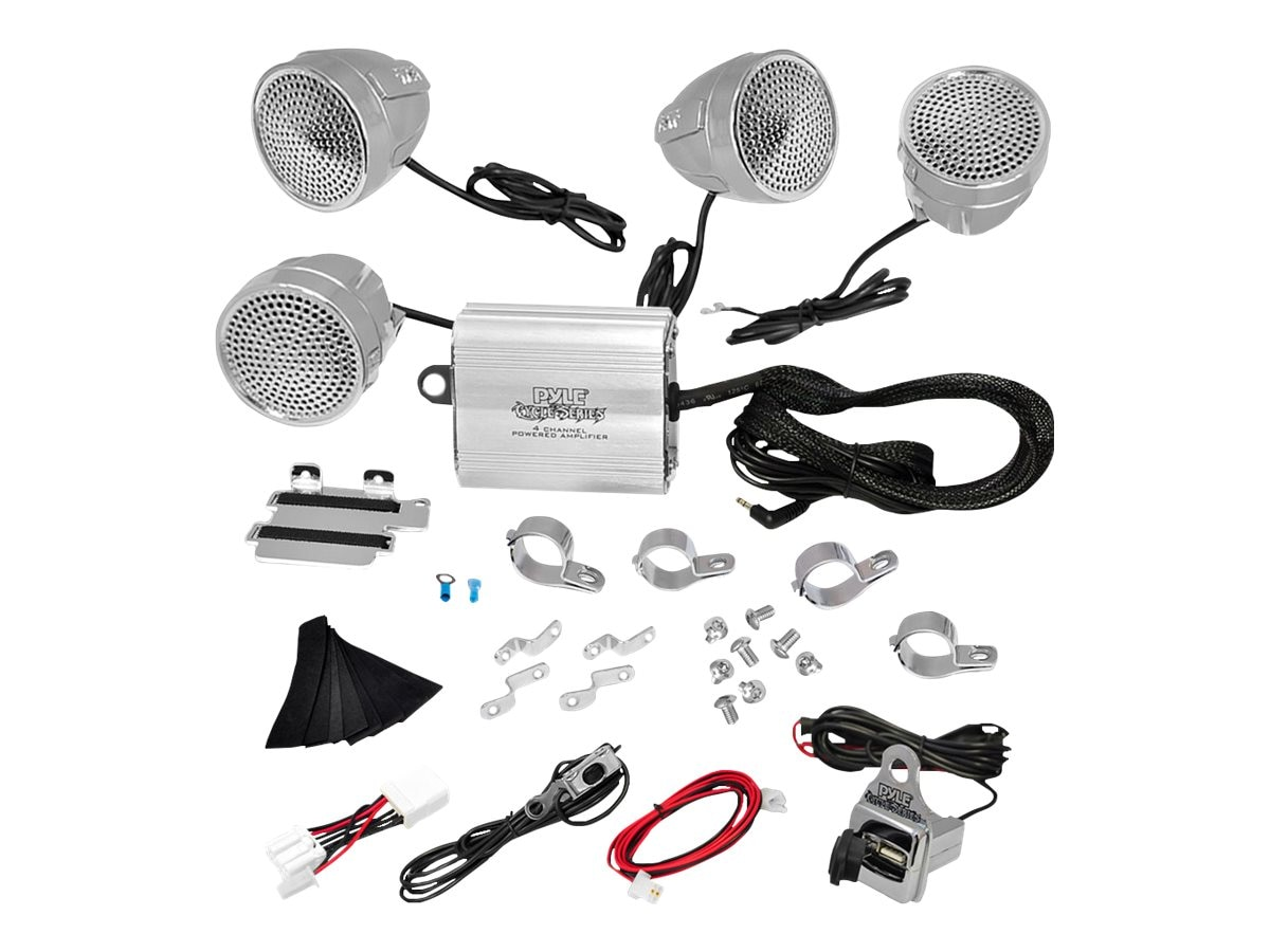 Pyle 1200W 4-Speaker Sound System for Motorcycle ATV Snowmobile, PLMCA90