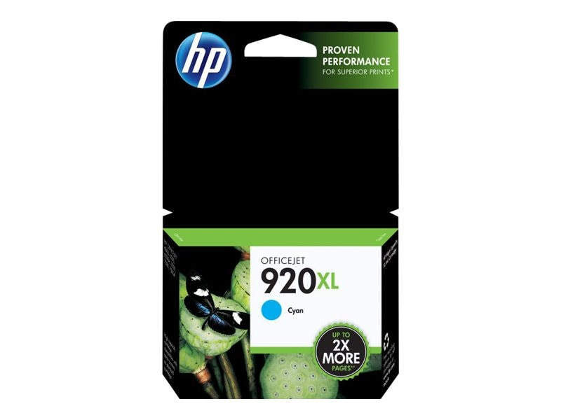 HP 920XL (CD972AN) High Yield Cyan Original Ink Cartridge, CD972AN#140, 9257259, Ink Cartridges & Ink Refill Kits