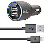 Belkin Dual Car Charger w  Lightning-to-USB Cable 10W 2.1A per Port, F8J114BT04-BLK, 22710960, Automobile/Airline Power Adapters