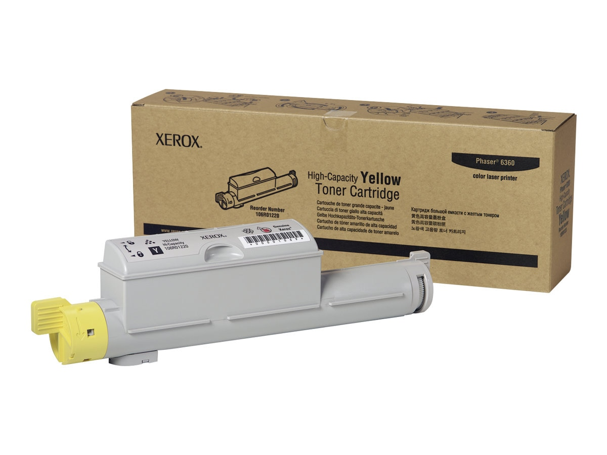 Xerox Yellow High Capacity Toner Cartridge for Phaser 6360 Series Printers, 106R01220, 7438224, Toner and Imaging Components