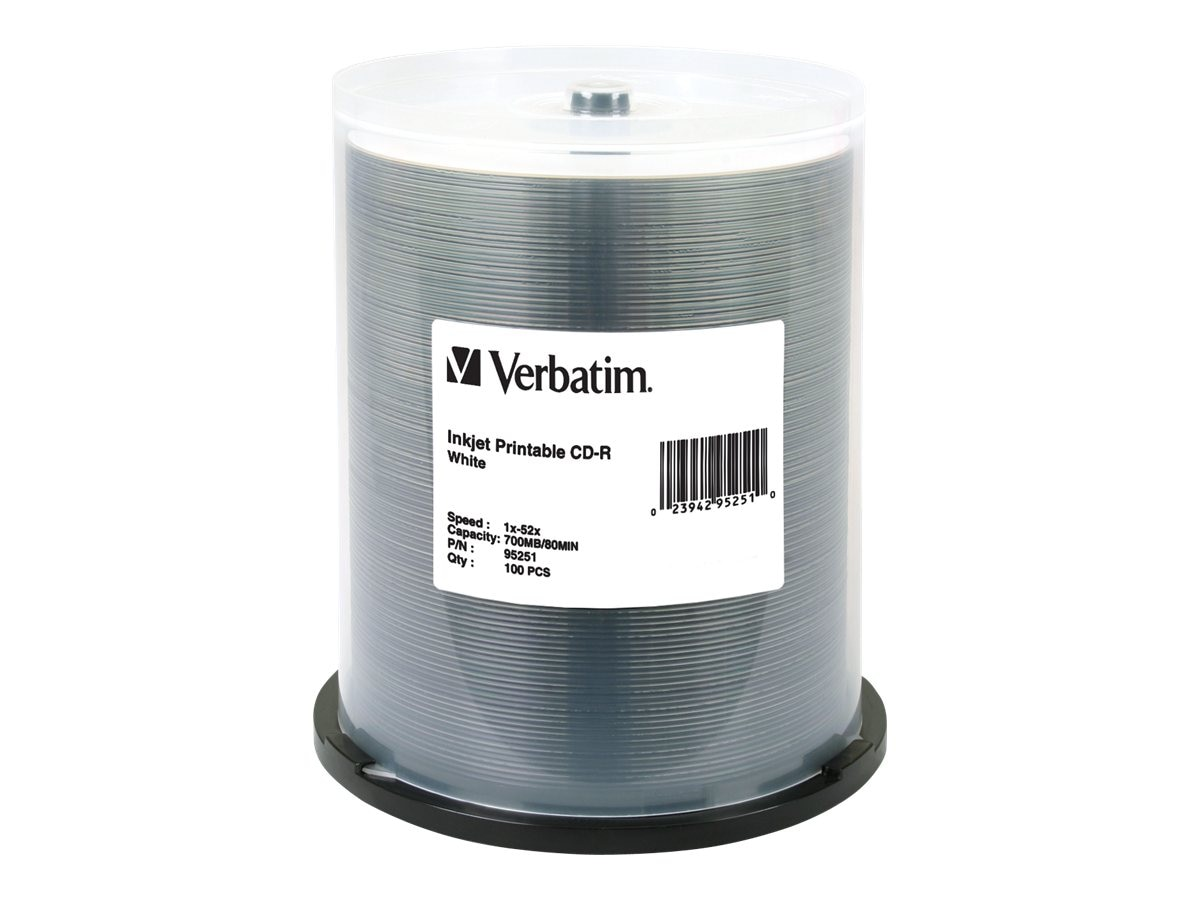 Verbatim 52x 700MB 80min White Inkjet Printable CD-R Media (100-pack spindle)