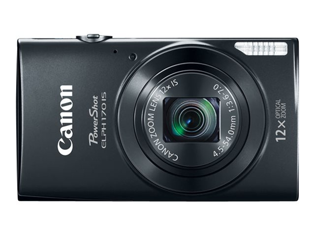 Canon PowerShot ELPH 170 IS Camera, 20MP, 12x Zoom, Black, 0114C001, 18524312, Cameras - Digital - Point & Shoot