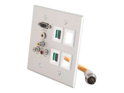 C2G RapidRun Double Gang Integrated HD15 + 3.5mm + RCA Audio Video + (4) Keystone Wall Plate, Brushd Al, 60029