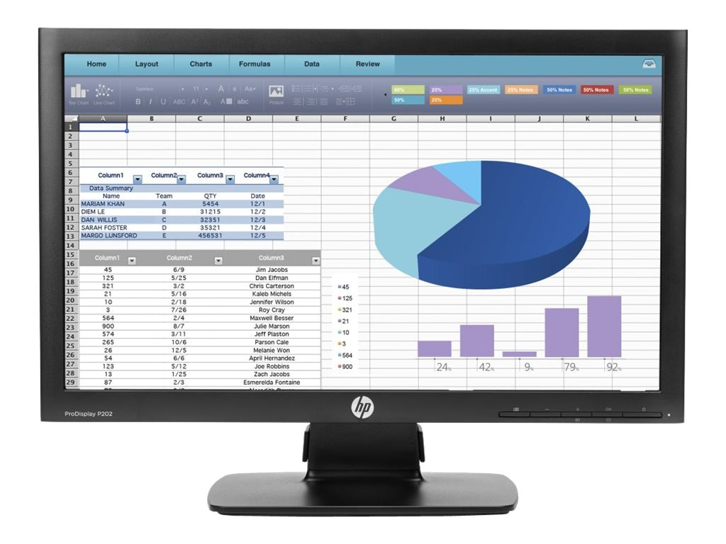 HP ProDisplay 20 P202 LED-LCD Display, Black, K7X27AA#ABA, 19099493, Monitors - LED-LCD