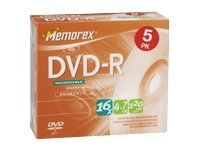 Memorex 4.7GB DVD-R Media (3-pack Jewel Cases), 05655, 9356054, DVD Media