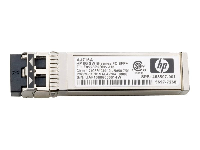 HPE 8GB Shortwave B-Series Fibre Channel SFP+, AJ716B, 13551426, Network Transceivers
