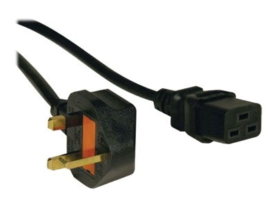 Tripp Lite Power Cable, C19 to BS1363 for United Kingdom, Black, 8ft, P052-008, 8275261, Power Cords
