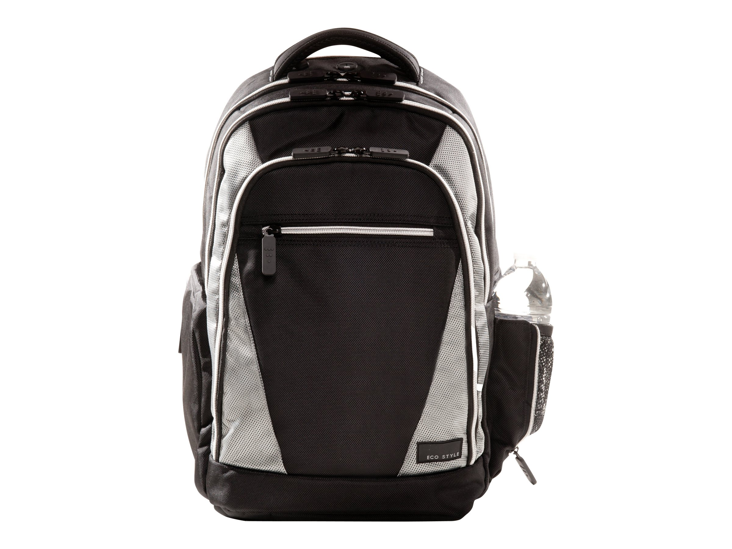Eco Style Sports Voyage Backpack, Fits 17.3 Notebook, Black Silver, EVOY-BP17