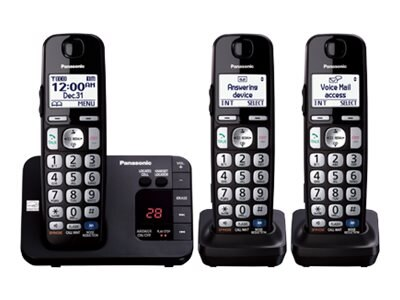 Panasonic Expandable Cordless Digital Phone w  Answering Machine & (3) Handsets - Black, KX-TGE233B, 17729404, Telephones - Consumer