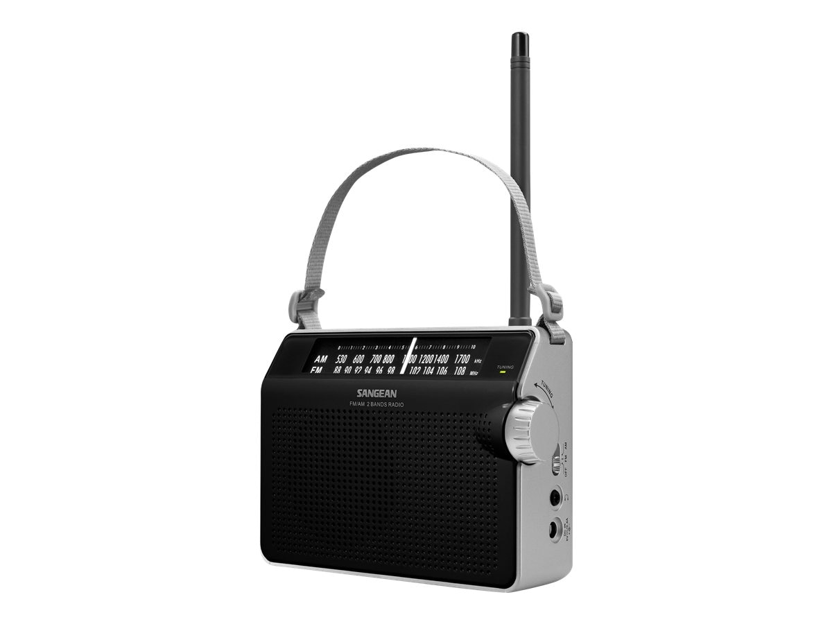 Sangean AM FM Compact Analog Radio with Lighted Display, Black