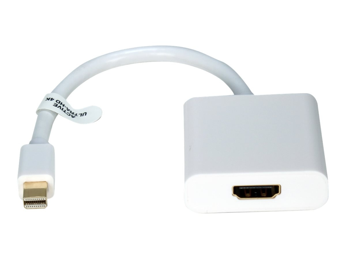 QVS Mini DisplayPort Thunderbolt to HDMI M F Active Adapter, White, MDPH-AMF, 18718969, Adapters & Port Converters