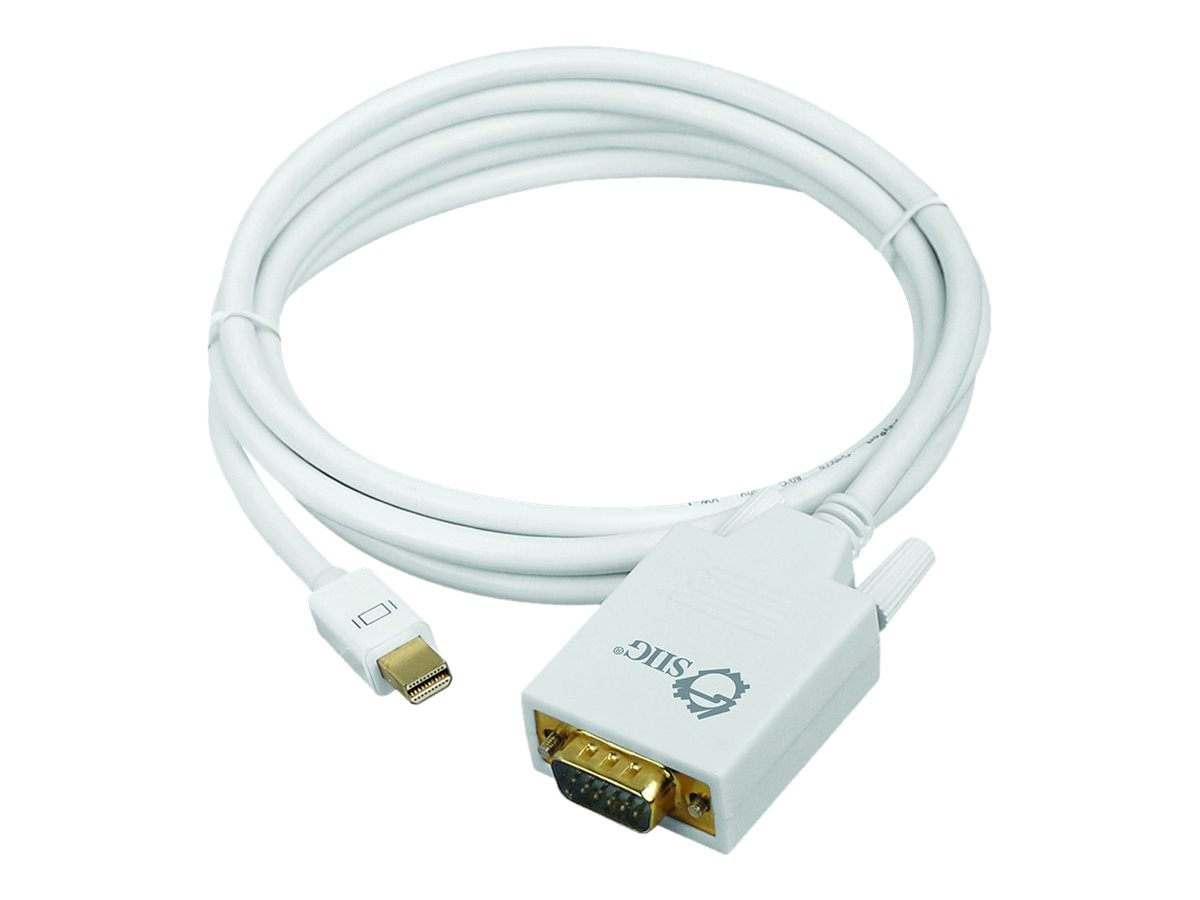 Siig Mini DisplayPort to VGA M F Converter Cable, White, 6ft