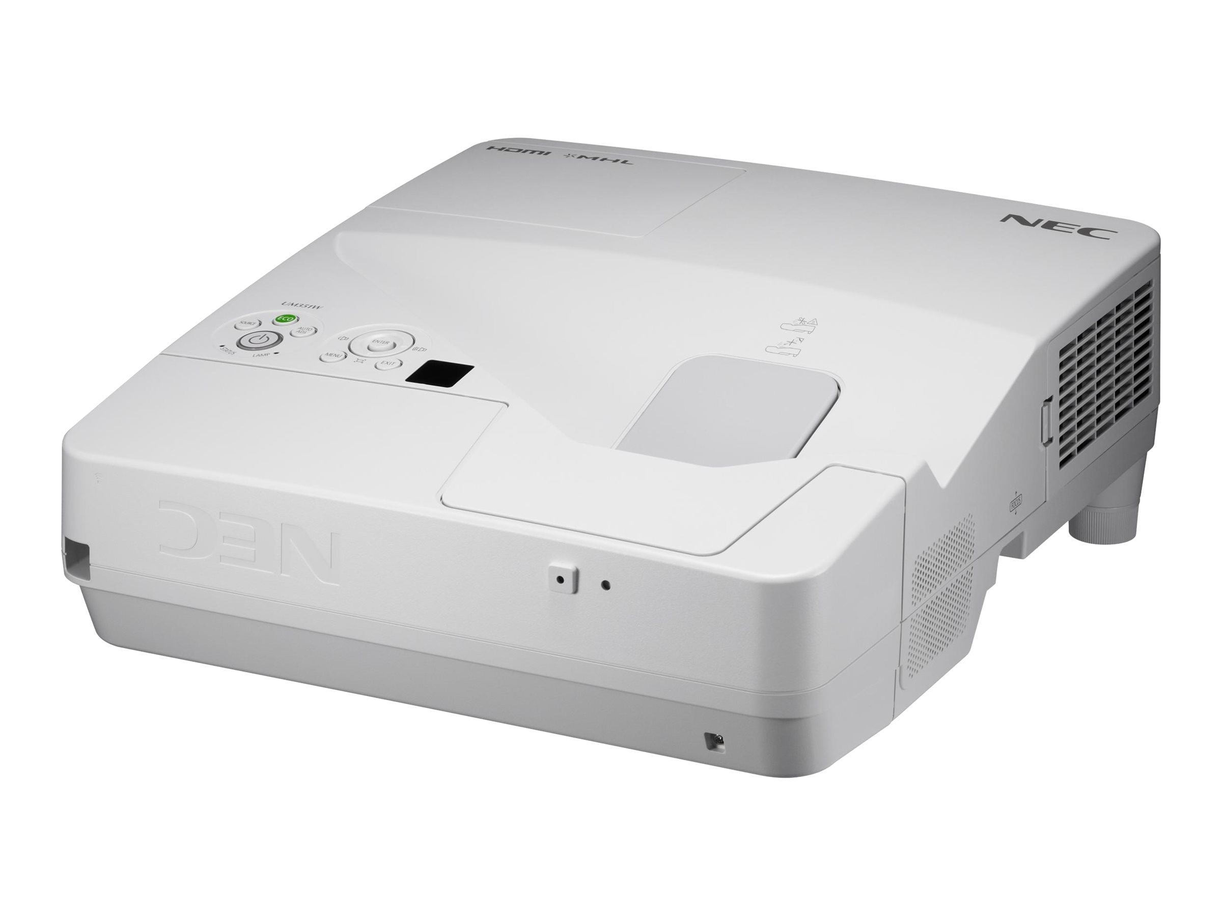 NEC UM351W Ultra Short Throw LCD Projector, 3500 Lumens, White, NP-UM351W, 18193154, Projectors