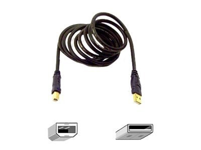 Belkin Gold Series USB Type to Type B M M Cable, Black, 16ft, F3U133V16-GLD