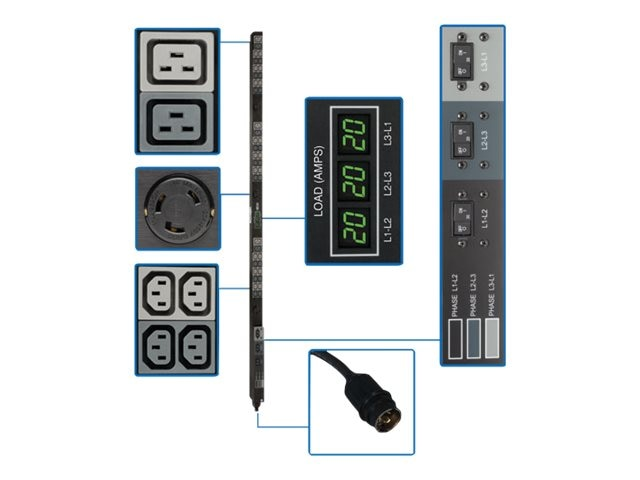 Tripp Lite Metered PDU 14.4kW 208V 3-ph 40A 0U Hubbell 50A Input (36) C13 (6) C19 (3) L6-30R, PDU3MV6H50A, 14588028, Power Distribution Units