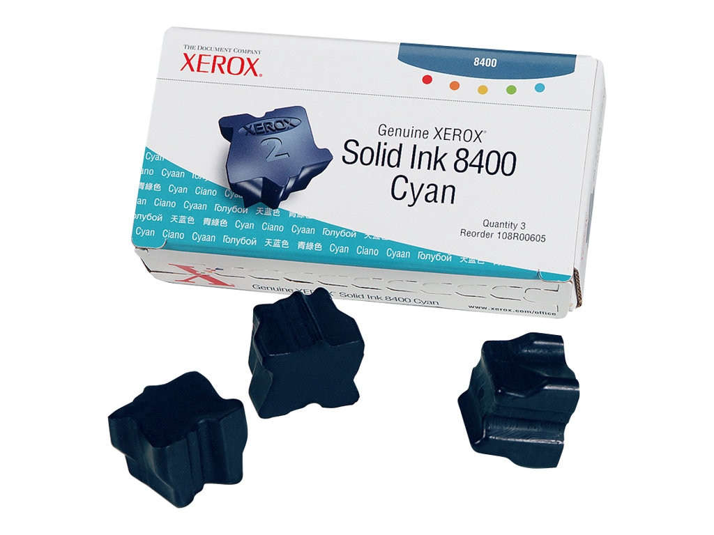 Xerox Cyan Solid Ink Sticks for the Phaser 8400 (3 Sticks), 108R00605, 4793351, Toner and Imaging Components