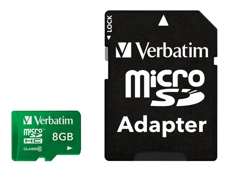 Verbatim 8GB MicroSDHC Flash Memory Card, Class10, Green, 44042