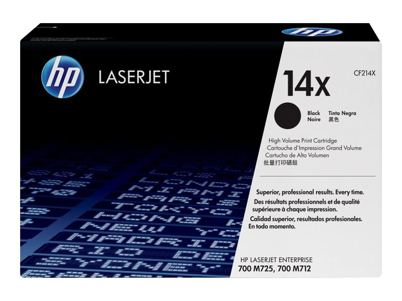 HP 14X (CF214X) High Yield Black Original LaserJet Toner Cartridge, CF214X, 14831884, Toner and Imaging Components