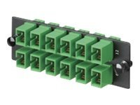 Panduit Single-Mode 12-Port Fiber Adapter Panel with Zirconia Ceramic Split Sleeve, Green