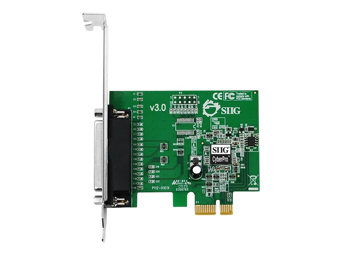 Siig 1-port DB25 PCIe CyberParallel ECP EPP HP High Speed Parallel Adapter, JJ-E01011-S3