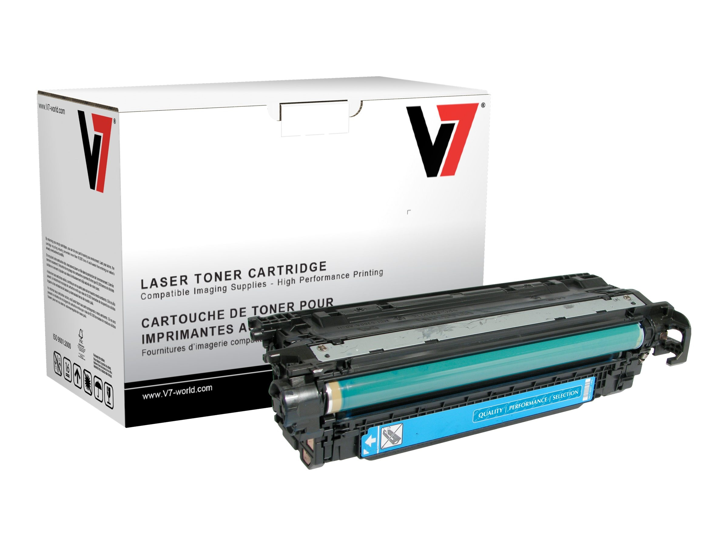 V7 CE251A Cyan Toner Cartridge for HP LaserJet CP3525 (TAA Compliant), THC23525
