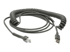 Zebra Symbol Coiled USB Cable, Type A, 15ft, CBA-U09-C15ZAR, 7436051, Cables