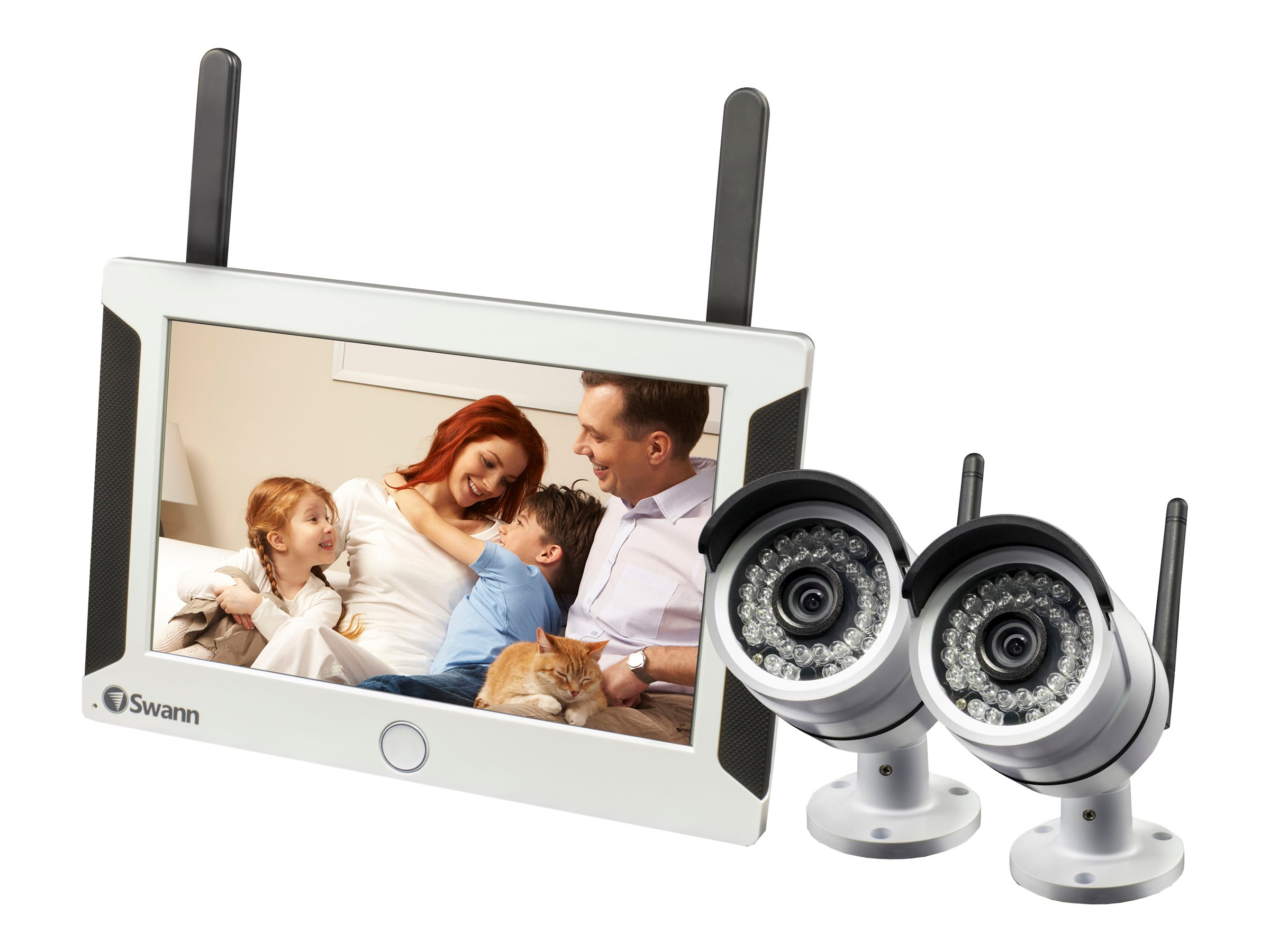 Swann All-in-One SwannSecure Wi-Fi HD Monitoring System with Monitor, 2x Cameras