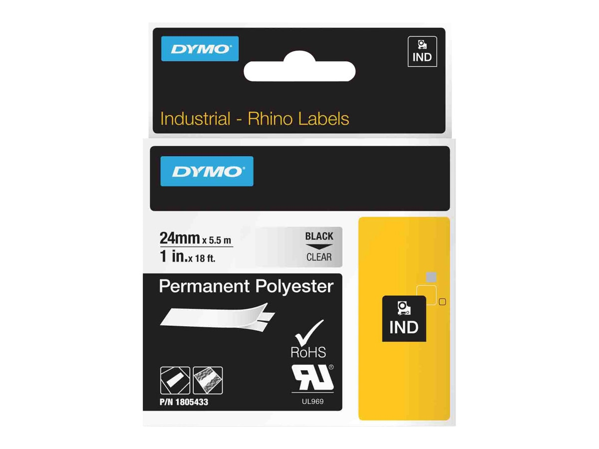 DYMO 1 Rhino Clear Permanent Poly Labels, 1805433, 13202576, Paper, Labels & Other Print Media
