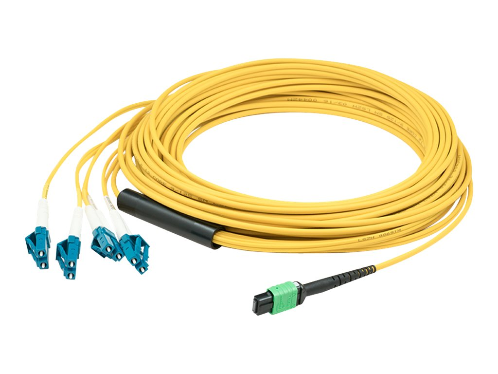 ACP-EP MPO to 4xLC 9 125 OS1 Singlemode Duplex Fiber Fanout Cable, Yellow, 12m, ADDMPO4LC12M9SMF