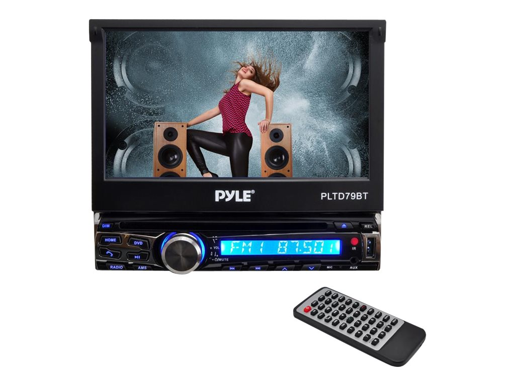 Pyle 7 Single-DIN Bluetooth DVD CD MP3 AM FM Receiver, PLTD79BT