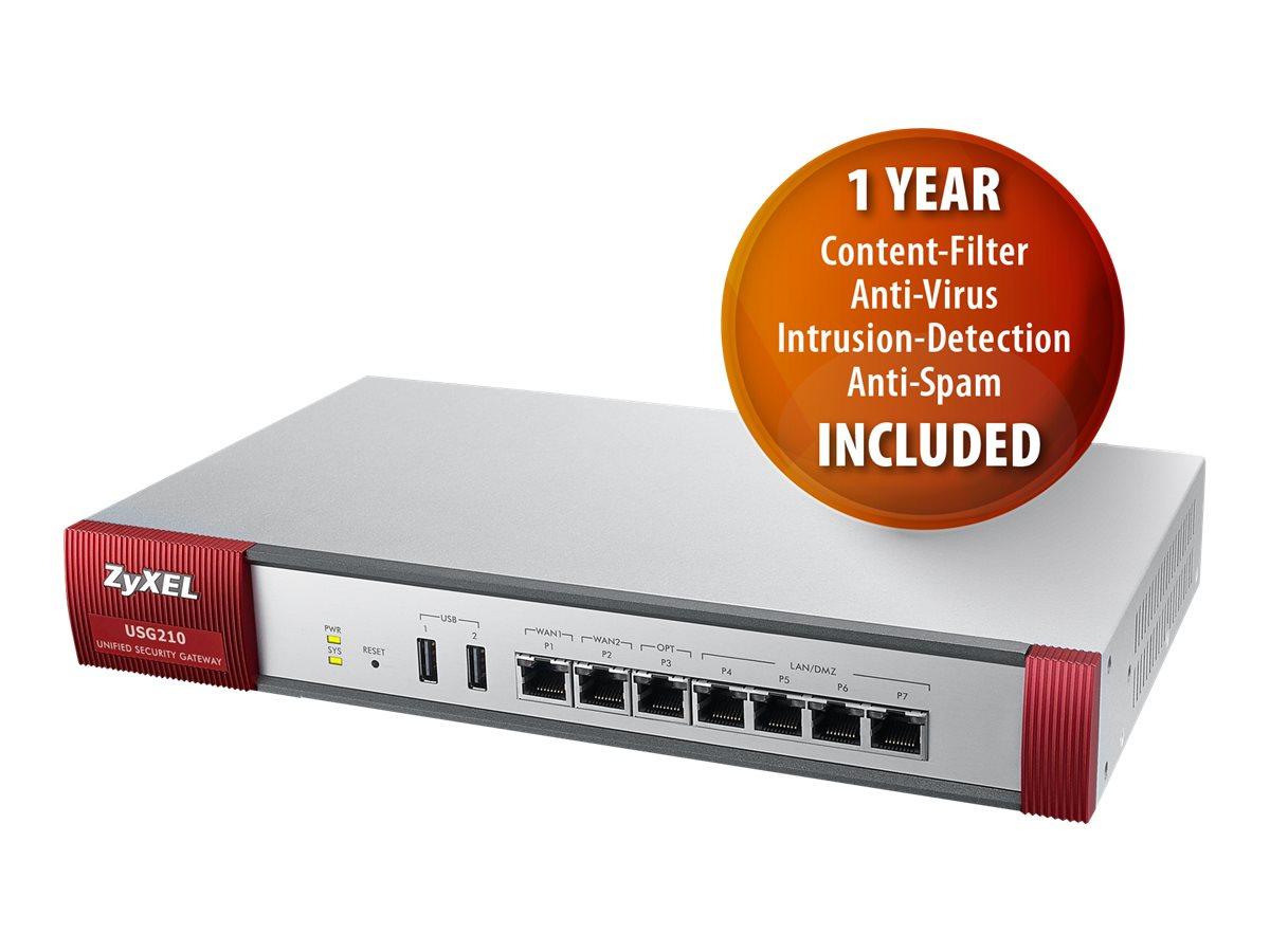 Zyxel USG210 UTM Firewall VPN Router w 1 Yr CF AV IDP AS, USG210, 17425591, Network Firewall/VPN - Hardware
