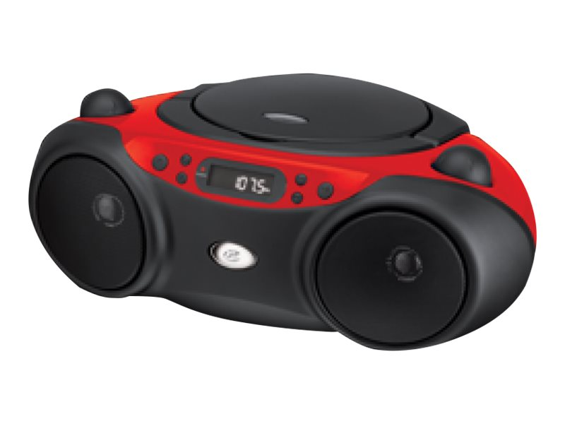 GPX CD Boombox with AM FM Radio & Dock, Red